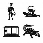Isolated Object Of Fauna And Entertainment Sign. Set Of Fauna And Park Vector Icon For Stock. poster