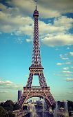 Eiffel Tower In Paris With White Clouds In The Sky And A Vintage Antique Effect Excellent As A Postc poster
