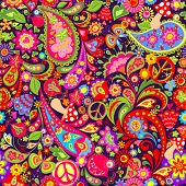 Hippie vivid colorful wallpaper with abstract flowers, hippie peace symbol, mushrooms, pomegranate a poster