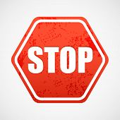 Grunge stop sign in polyhedron