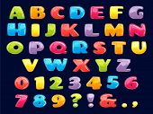 Color Cartoon Font. Chubby Colored Letters, Fun Kids Games Alphabet And Funny Child Letter. Kid Abc  poster