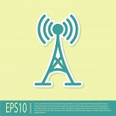 Green Antenna Icon Isolated On Yellow Background. Radio Antenna Wireless. Technology And Network Sig poster