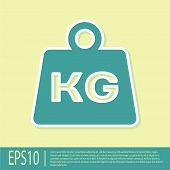 Green Weight Icon Isolated On Yellow Background. Kilogram Weight Block For Weight Lifting And Scale. poster