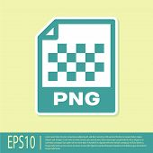 Green Png File Document Icon. Download Png Button Icon Isolated On Yellow Background. Png File Symbo poster