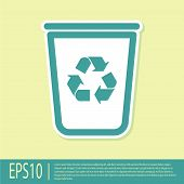 Green Recycle Bin With Recycle Symbol Icon Isolated On Yellow Background. Trash Can Icon. Garbage Bi poster