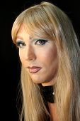 Drag Queen Makeup With Wig And Earrings poster