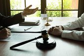 Lawyer Working With Contract Client On The Table In Office. Consultant Lawyer, Attorney, Court Judge poster