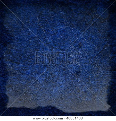 Abstract Blue Background Or Paper With Bright Center Spotlight And Dark Border Frame With Vintage Gr