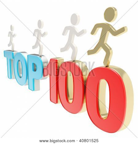 Human Running Symbolic Figures Over The Words Top Hundred