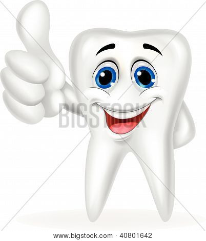 Tooth cartoon with thumb up