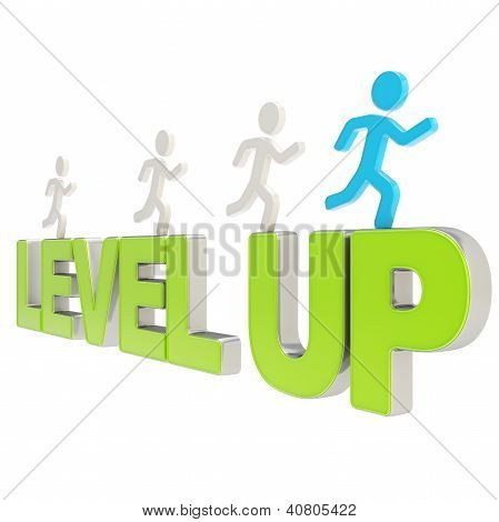 Human Running Symbolic Figures Over The Words Level Up