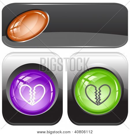 Unrequited love. Internet buttons. Raster illustration.