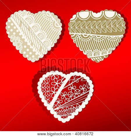 Valentine patterned hearts set of three