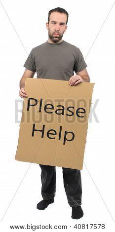 Scruffy Guy Holding Sign