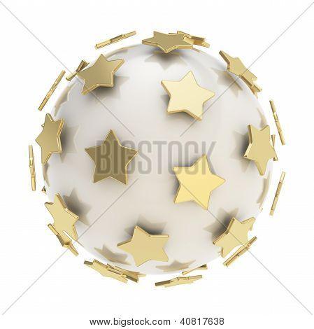 Golden Stars Around Glossy Sphere Isolated