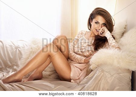 Fashion Photo Of Beautiful Young Woman In Lace Dress, Smiling