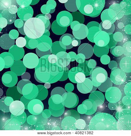 Abstract Festive Background For Winter Theme In Green Colors
