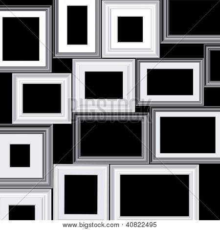 set of vector black and white different frames, background is in separate layer and you can easy to remove them and put your own images