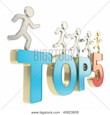 Human Running Symbolic Figures Over The Words Top Five