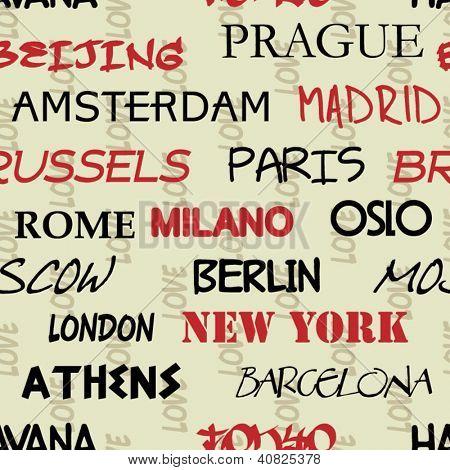 art seamless vector pattern background with love to Moscow, Paris, Milan, Berlin, London, Tokyo, Barcelona, Prague, Brussels, Amsterdam, Havana, Madrid, New York