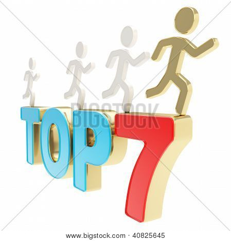 Human Running Symbolic Figures Over The Words Top Seven