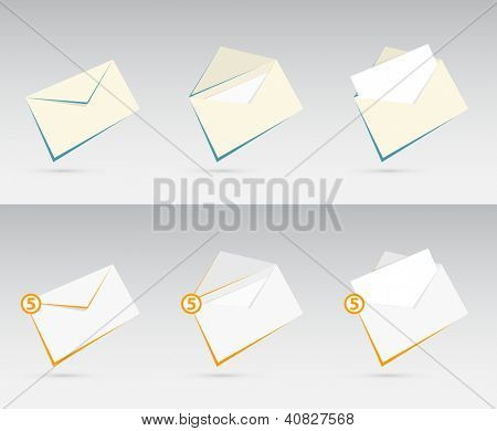 Vector set of orange and blue envelopes with letters