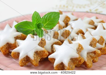 christmas gingerbread stars glazed with sugar topping