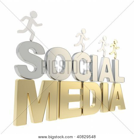 Human Running Symbolic Figures Over The Words Social Media