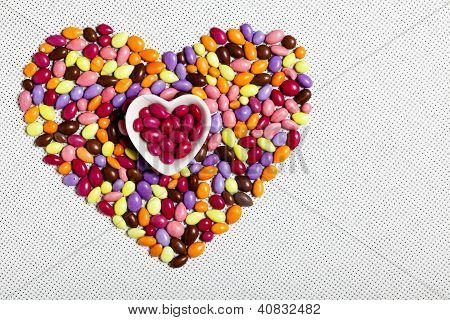 Colorful Glazed Candies Heart
