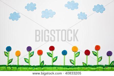Flower Field Landscape Felt