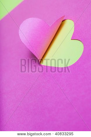 Heart Half-Cut From Pink Paper