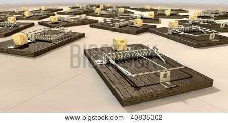 Mousetraps With Cheese Array Close