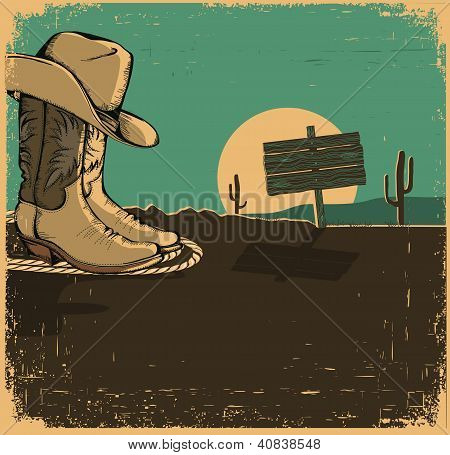 Western Illustration With Cowboy Shoes And Desert Landscape On Old Texture