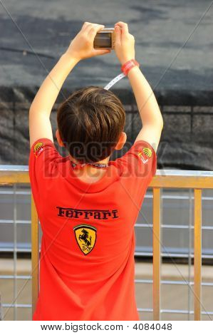 Ferrari Fan Taking Photo