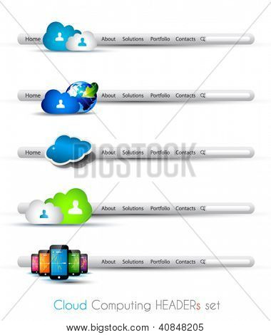 Cloud Computing themed headers or footers to use for technology modern web design or blog templates