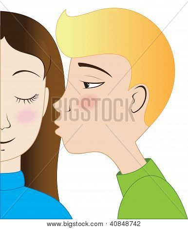 Blond boy and brunette girl kissing
