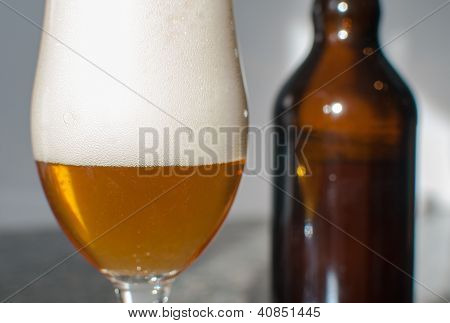 Beer Glass Close-up With Bottle