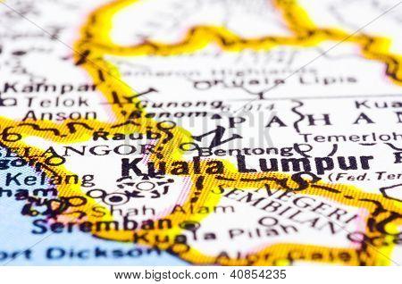 Close Up Of Kuala Lumpur On Map, Malaysia
