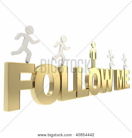 Human Running Symbolic Figures Over The Words Follow Me