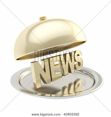 Word News On Salver Plate Under The Food Cover