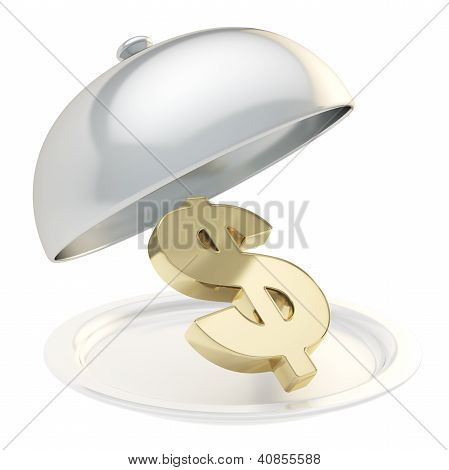Usd Dollar Sign On Salver Plate Under The Food Cover