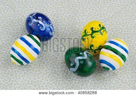 Five Easter Eggs, Handmade Painted