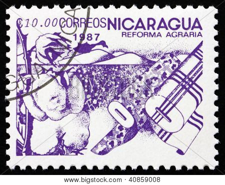 Postage stamp Nicaragua 1986 Cotton, Agrarian Reform