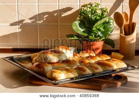 Tray Of Pies In The Kitchen