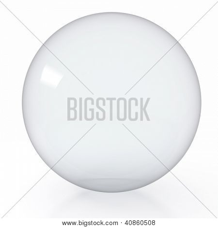 3d render illustration of empty glass ball on white background