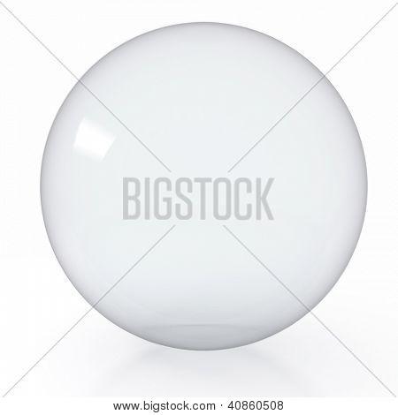 3d render illustration of empty glass ball on white background