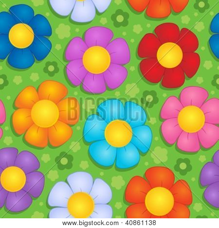 Flowery seamless background 9 - vector illustration.