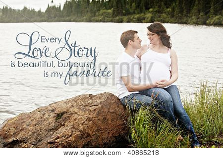Maternity photos of a couple outdoors in summer time - 8 months pregnant
