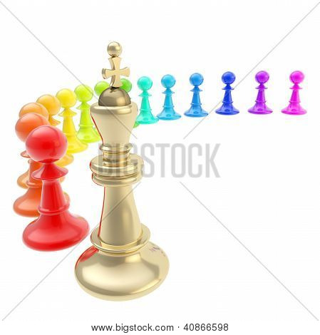 Chess King And Pawns Composition Isolated