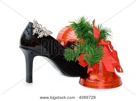 Black Stilettos With Christmas Bells Over White With Clipping Path